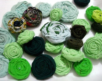 Green rolled fabric flowers wholesale flowers handmade wedding flowers craft flowers color set