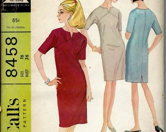 1960's McCall's Sewing Pattern No. 8458 - Sheath Dress with Kimono Sleeves  Notch and Seam Detail at Neckline  Bust 36