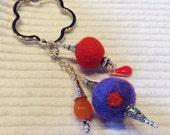 Felt, Lampwork beads, Keys, Scissors, Zipper Pull, Fob, Silver Hill Tribe beads, Valentines Day, Key Ring, felt beads, purple, orange