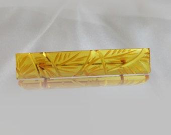 Vintage Apple Juice Bakelite Carved Bar Pin Brooch.  Art Deco.  1930s Bakelite Bar Pin.