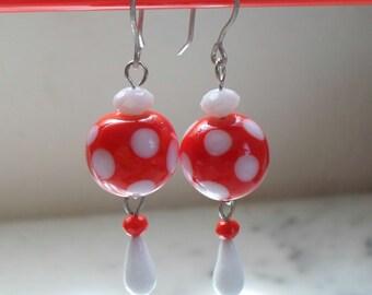 Lampwork Earrings, Polka Dot Red and White Earrings, Summer Fashion Boho Jewelry, Handmade Jewelry Gift for Her