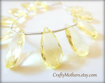 LEMON Hydro Quartz Faceted Pear Briolettes, 8mm x 16mm - (1) Matched Pair, neutral, pale yellow earring pairs