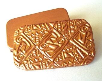Exotic Pill Box Inca Design Gold Tone Purse Accessory Metal Slide Top Pill Box Vitamin Holder Travel Pill Case Great Gift  FREE Gift Pouch