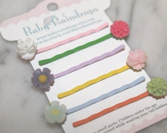Flower Bobby pins, set of SIX, perfect for summer hair!