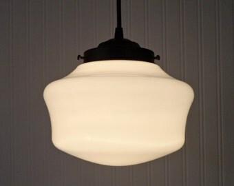 Vintage Milkglass Schoolhouse PENDANT Light