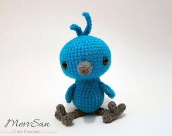 Crochet PATTERN PDF - Amigurumi Woodland Critter Bluebird- crochet animal pattern, amigurumi bird pattern, bird plush, cute crochet bird toy