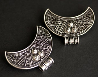 Two (2) Viking Brooches. Silver Apron Pins. Crescent Moon Turtle Brooch Set. Shoulder Brooches. Norse Jewelry. Historical Jewelry.