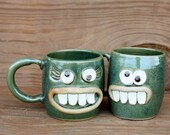 VALENTINES DAY His Hers Coffee Cups. Couples Gifts. Frosty Green. Pair of Smiley Face Happy Soup Mugs. Mr Mrs Matching Mugs.