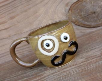 Mans Mustache Mug. Handlebar Moustache Coffee Cup. Monocle Face Mug. Handmade. Funny Pottery Gift for Men. Caramel.