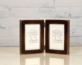 """Two 4x6"""" PORTRAIT or LANDSCAPE Orientation Picture Frames in 1x1 Flat Style Hinged Together in Color of Your Choice - Double Frame 4x6"""
