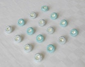 16 attractive glass buttons each with a beautiful rhinestone - 2 diff. colors - (13.5 mm - 9/16 in.)
