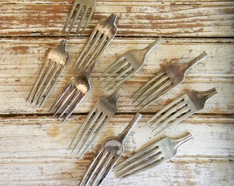 Vintage Silver Forks, Craft Lot of Forks, No Handles, Lot of 10 Pc. Silver Dinner Forks, Craft, DIY, Jewelry Making, Key Fobs, Napkin Rings