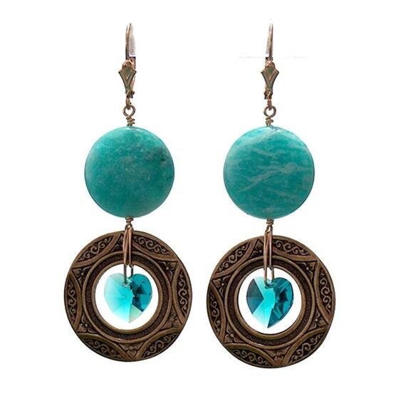 Green Amazonite Earrings - 65mm length - art deco style round ring hoop crystal heart earrings - gold filled leverbacks
