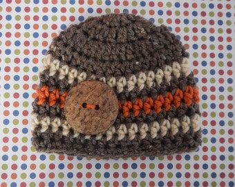 Newborn Boys Beanie Hat with Large Coconut Button