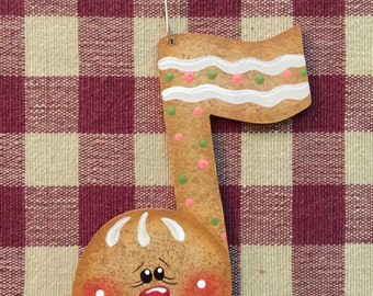 Whimsical Gingerbread Music Note Hand Painted Wood Christmas Ornament