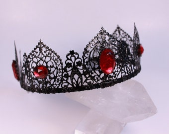 Morgaine Bad Blood Black Filigree Tudor Medieval Fantasy Renaissance Metal Tiara Crown