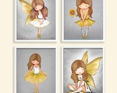 Wall art for girls room Art work Yellow and Gray Childrens wall decor Art for nursery kids room picture artwork drawing angel ballerina