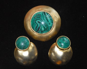Green and Gold Estate Brooch and Earring Set
