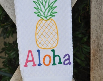 Embroidered Dish, Kitchen, or Hand Towel with Aloha and Pineapple Embroidery