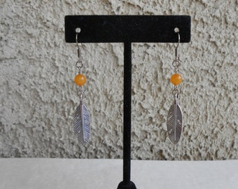 Orange Jade Feather Earrings