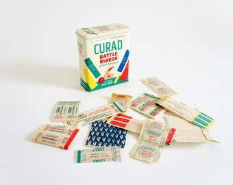 Vintage 1960s Curad Battle Ribbon Plastic Bandages for Kids with Tin Container VGC / Primary Color Bandages, First Aid, Set Prop Display