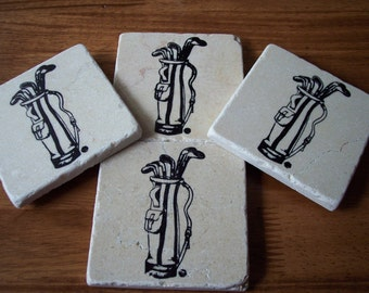 Golf Bag tumbled marble field tile table coaster Set of four