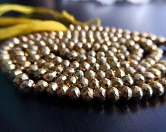 Metallic Golden Pyrite Faceted Balls No. 1509 by BijouxRocks Round Rondelle Disco Coin