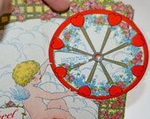 Antique Valentine Wheel Of LOVE Card . Stand Up . 3 D . Beistle . Love .  Fold out . Honey Comb . Paper Card Board