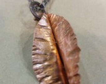 Abstract Copper Leaf Necklace
