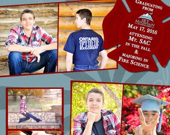Custom Graduation Announcement Fire Card Printable Digital File