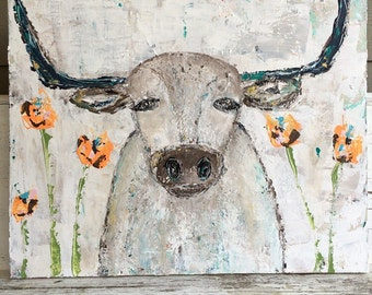 Longhorn  painting, longhorn, 24 x 30 gallery wrapped canvas, longhorn and flowers, teals and oranges, texas, original painting