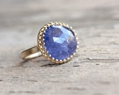 Rose-Cut Tanzanite 14K Yellow Gold Engagement Ring Large Purple Blue Gemstone Crown Setting Romantic Princess Soft Lilac Colors - Violet Vow