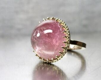 Large Pink California Tourmaline Cabochon Ring 14K Yellow Gold Royal Crown American Blush Gemstone Statement Piece Her - Himalayan Princess