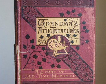 Old Book, For Crafts, Grandma's Attic Treasures, Circa 1881, Pages For Envelope Liners, Origami, Paper Crafts