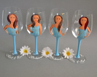 SALE Hand painted Bridal shower party Personalized Wine or Champagne glasses Portraits and bridesmaids dresses Gift