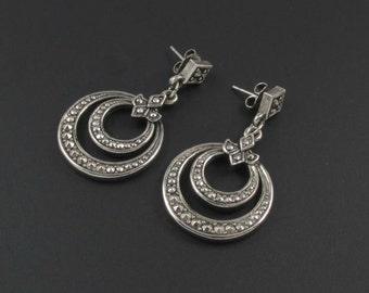 Avon Marcasite Earrings, Avon Faux Marcasite Earrings, Avon Hoop Earrings, Avon Earrings, Marcasite Dangle Earrings