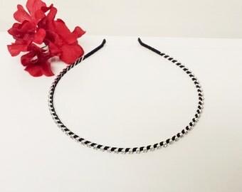 Black Satin Ribbon Enhanced Rhinestone Bridal Headband for Bridesmaid, Prom, Flower Girl or Wedding Party
