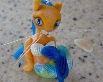 Mermaid Cat Ocean-Themed Ornament Whimsical Orange Cat Fantasy Mercat
