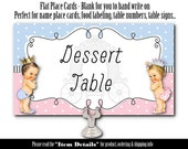 10 Flat Style Place Cards, Food Label Cards, Gender Reveal, Baby Shower, Royal Prince, Princess, African American, Caucasian,Hispanic Babies