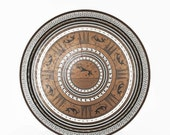 ON SALE Vintage Grecian Etruscan Greek Key Bronze Metal Round Tray