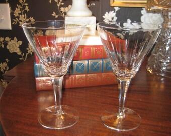 Pair Cut Crystal Wine/Champagne/Water Stemware