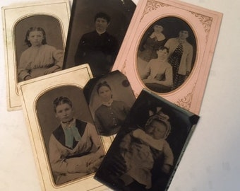 Group of 6 Antique Tin Type Photo Pictures
