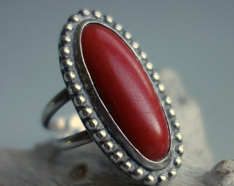 Coral Sterling Southwest Ring