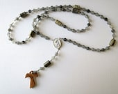Gray Franciscan Crown Rosary of Cloudy Quartz with Saint Francis/ Saint Anthony Center and Olive Wood Tau Cross