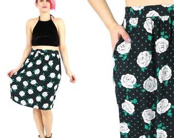 25% off SALE SALE 80s High Waist Floral Skirt Polka Dot Pencil Skirt Green Black Floral Skirt Rose Print Skirt Knee Length Midi Skirt Pocket