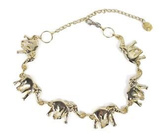 Vintage ELEPHANT Belt 1980s Gold Chain Belt Novelty Statement Belt Boho Safari Animals Belt Chain Linked Chunky Chain Waist Belt (S/M/L)