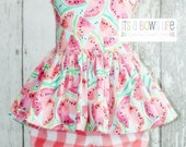 """Watermelon Peplum Top and Matching Gingham Bloomers in """"Picnic"""""""