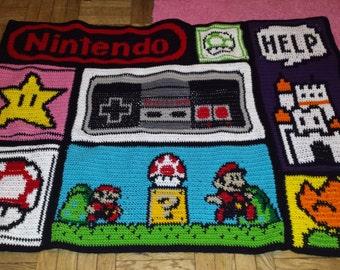 crochet Nintendo blanket