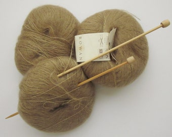3 Skeins Lovely Rowan Kidsilk Yarn, 0652 Mud, Mohair & Silk Mix -25 grams each