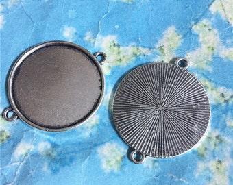 10pcs antiqued silver 25mm round bezel base/picture frame setting connectors